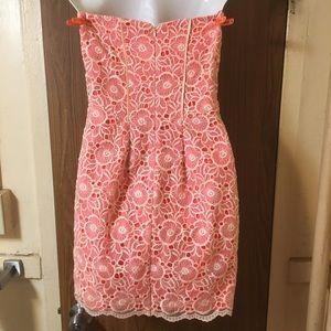 Jessica Simpson Dresses - Floral Lace Orange/peach and white dress